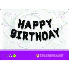 Куля Happy Birthday чорний (40см висота літери)