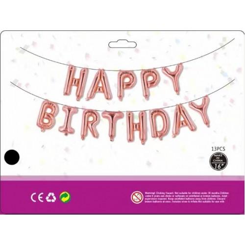Куля Happy Birthday рожеве золото (40см висота літери)