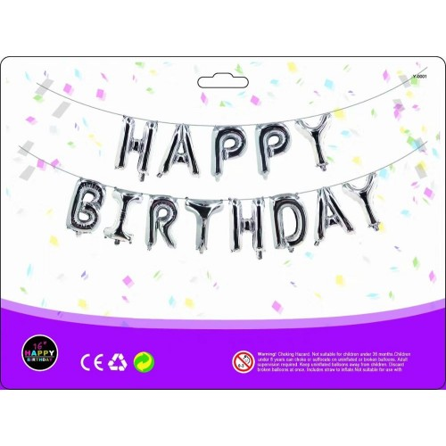Шар Happy Birthday серебро (40см высота буквы)