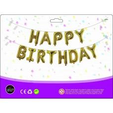 Куля Happy Birthday золото (40см висота літери)