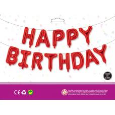 Куля Happy Birthday червоний (40см висота літери)
