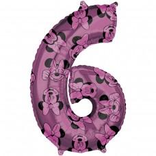 Фольгированная цифра 6 Минни Маус (66см) (США)