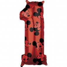 Фольгированная цифра 1 красная Микки Маус (66см) (США)