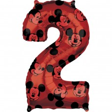 Фольгированная цифра 2 красная Микки Маус (66см) (США)