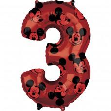 Фольгированная цифра 3 красная Микки Маус (66см) (США)