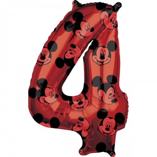 Фольгированная цифра 4 красная Микки Маус (66см) (США)
