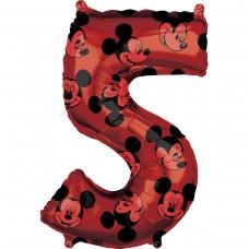 Фольгированная цифра 5 красная Микки Маус (66см) (США)
