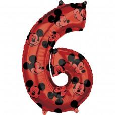Фольгированная цифра 6 красная Микки Маус (66см) (США)