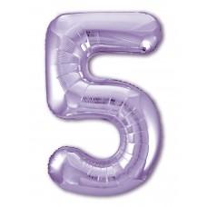 Фольгированная цифра 5 Slim, СИРЕНЕВАЯ (100см) AG