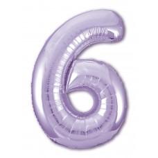 Фольгированная цифра 6 Slim, СИРЕНЕВАЯ (100см) AG