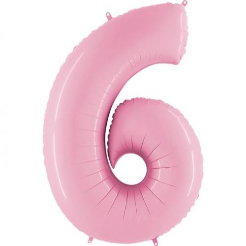 Цифра G 6 пастель розовая (100см)