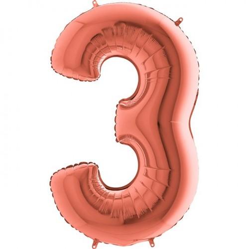 Цифра G 3 металлик розовое золото (100см)
