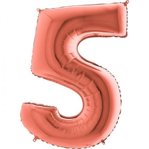 Цифра G 5 металлик розовое золото (100см)
