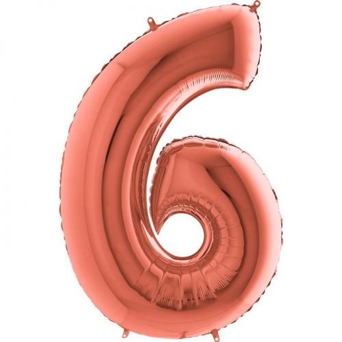Цифра G 6 металік рожеве золото (100см)