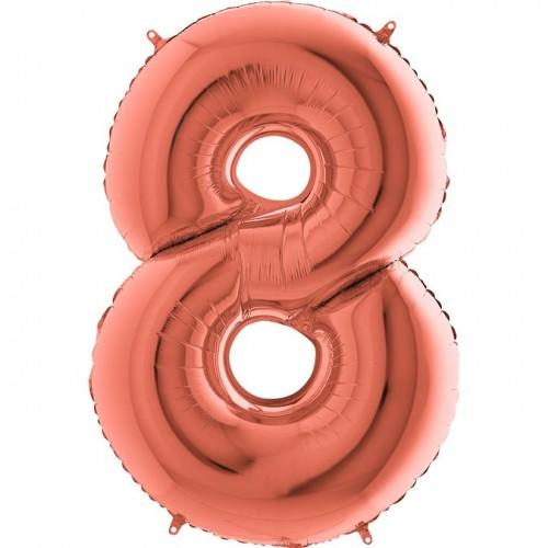 Цифра G 8 металлик розовое золото (100см)