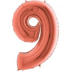 Цифра G 9 металлик розовое золото (100см)