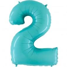 Фольгированная цифра 2 пастель голубая 66см (Grabo Италия)