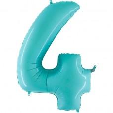 Фольгована цифра 4 пастель блакитна 66см (Grabo Італія)