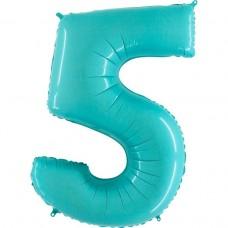 Фольгированная цифра 5 пастель голубая 66см (Grabo Италия)