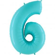Фольгированная цифра 6 пастель голубая 66см (Grabo Италия)
