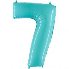 Фольгированная цифра 7 пастель голубая 66см (Grabo Италия)
