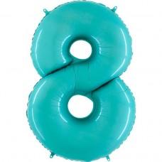 Фольгована цифра 8 пастель блакитна 66см (Grabo Італія)