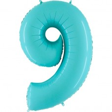 Фольгированная цифра 9 пастель голубая 66см (Grabo Италия)