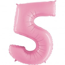 Фольгированная цифра 5 пастель розовая 66см (Grabo Италия)