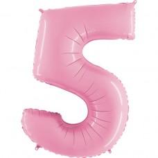 Фольгована цифра 5 пастель рожева 66см (Grabo Італія)