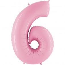 Фольгована цифра 6 пастель рожева 66см (Grabo Італія)