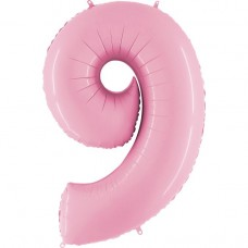 Фольгована цифра 9 пастель рожева 66см (Grabo Італія)