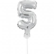 Фольгированные шары цифра-топпер 5  (13см серебро)