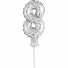Фольгированные шары цифра-топпер 8 (13см серебро)