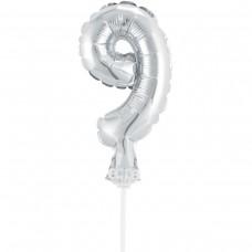 Фольгированные шары цифра-топпер 9 (13см серебро)