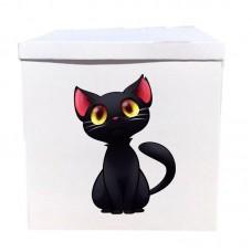 Наклейка на коробку черный котенок (50см)