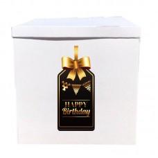 Наклейка на коробку Happy Birthday чорний з золотом (50см)