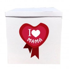 Наклейка на коробку я люблю маму (50см)