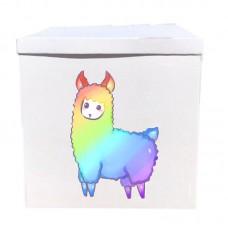 Наклейка на коробку радужная лама (50см)