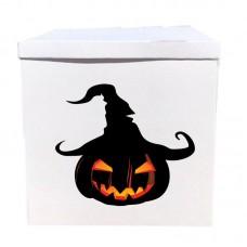 Наклейка на коробку Хэллоуин тыква в шляпе (50см)