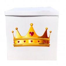 Наклейка на коробку золотая корона (50см)