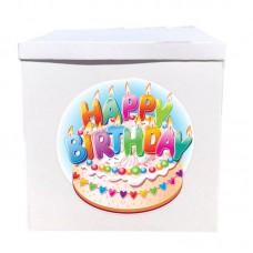 Наклейка на коробку Happy Birthday торт (50см)