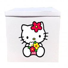 Наклейка на коробку Китти с цветами (50см)