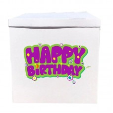 Наклейка на коробку Happy Birthday фіолетовим (50см)