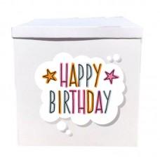 Наклейка на коробку Happy Birthday в хмарці (50см)