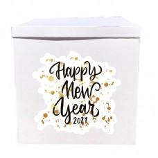 Наклейка на коробку Happy new year! (50см)