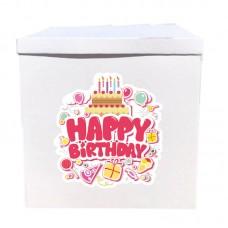 Наклейка на коробку Happy Birthday солодощі (50см)