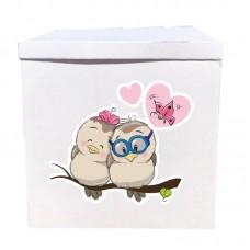 Наклейка на коробку Влюбленные птички (50см)