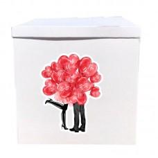 Наклейка на коробку Влюбленные с сердечками (50см)
