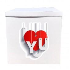 Наклейка на коробку I сердечко you (50см)