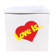 Наклейка на коробку Love is... (40см)
